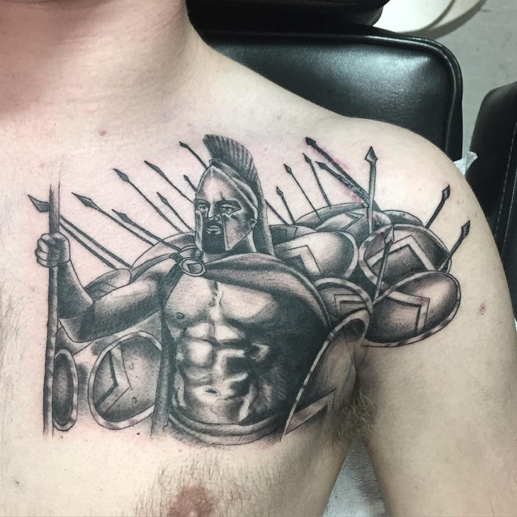 Black and Grey Chest Tattoo for Men