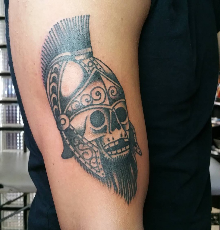 traditional spartan skull tattoo