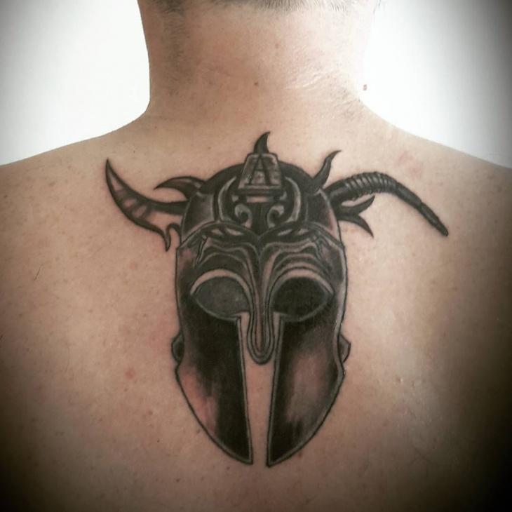 Spartan Tattoo on Below Neck
