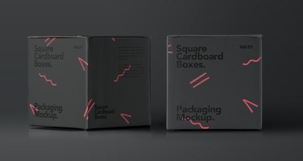 square psd cardboard box mockup
