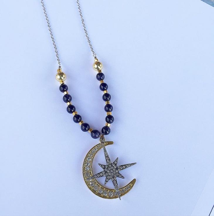 Moon and Star Diamond Pendant