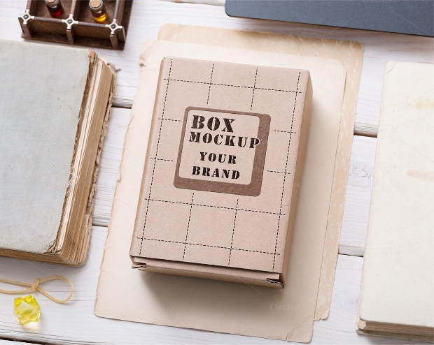 vintage cardboard box mockup