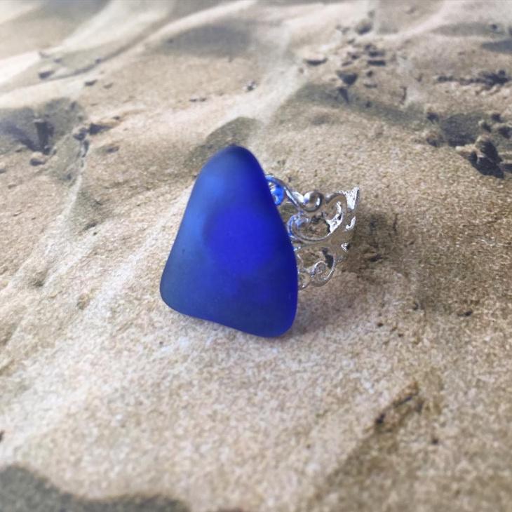 Pretty Blue Sea Glass Ring