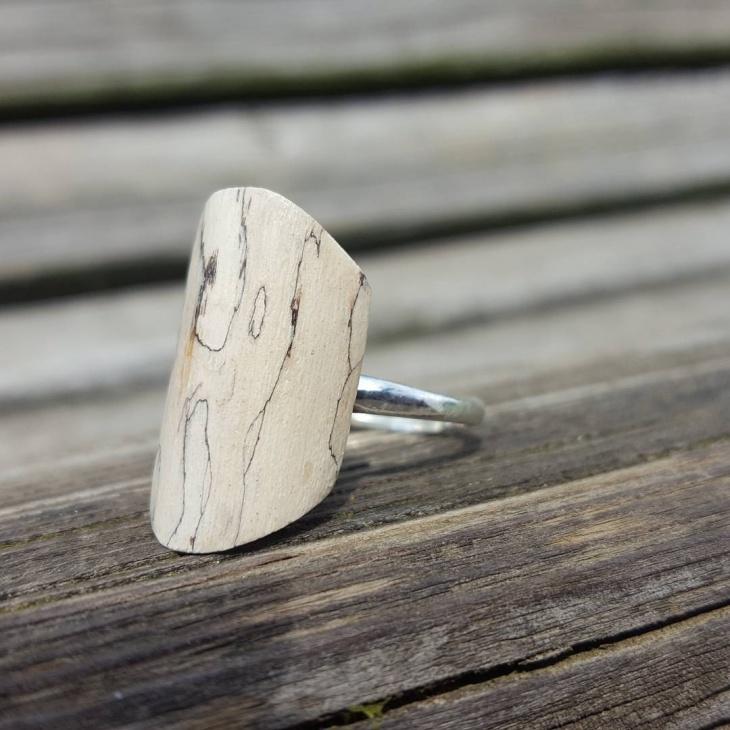 White Wood Statement Ring