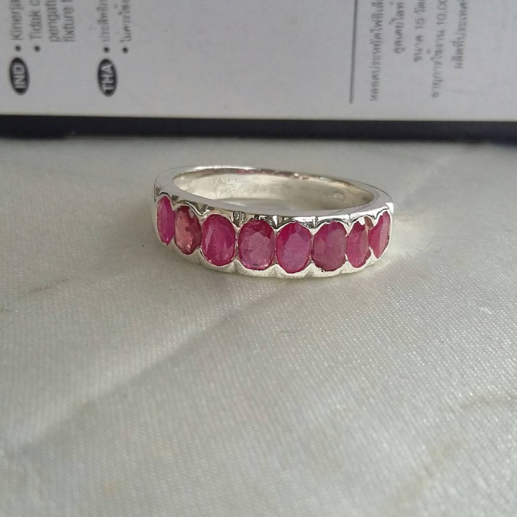 Silver Ring with Pink Stones