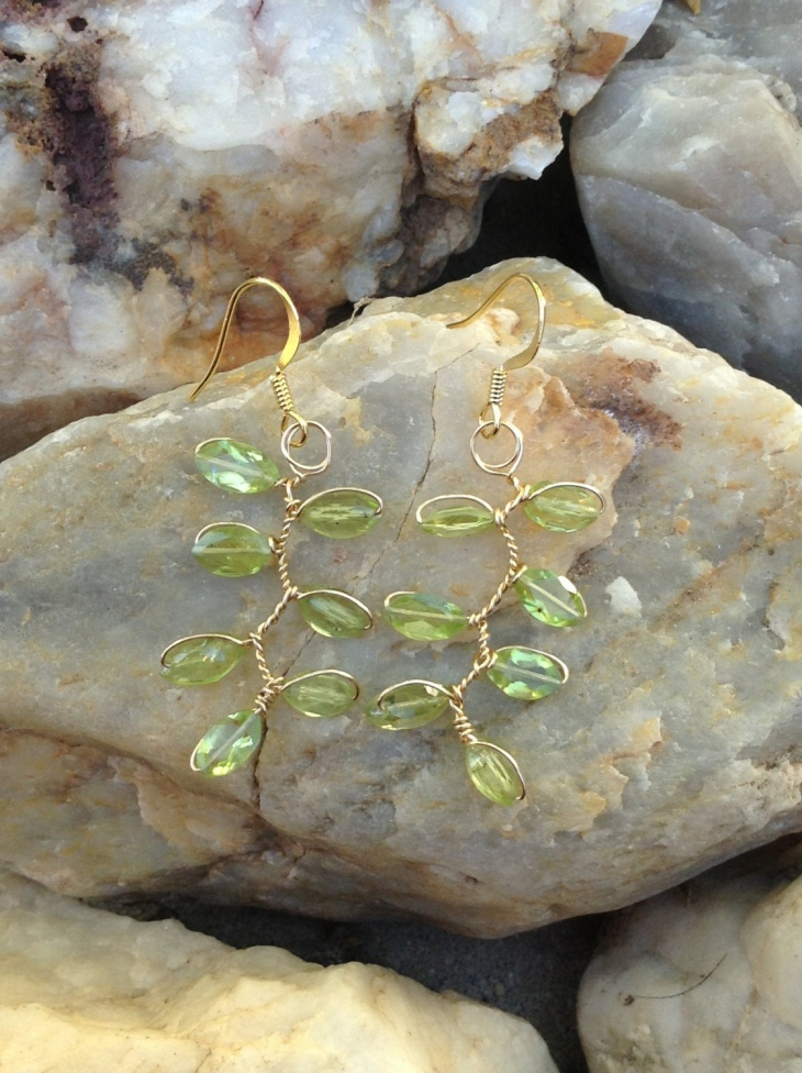 leaf and vine wire earrings