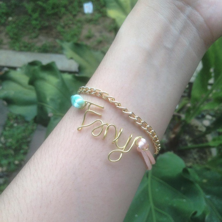 wire name jewelry bracelet