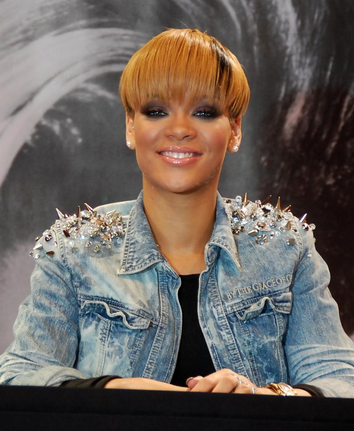 Rihanna Colored Bowl Hairstyle