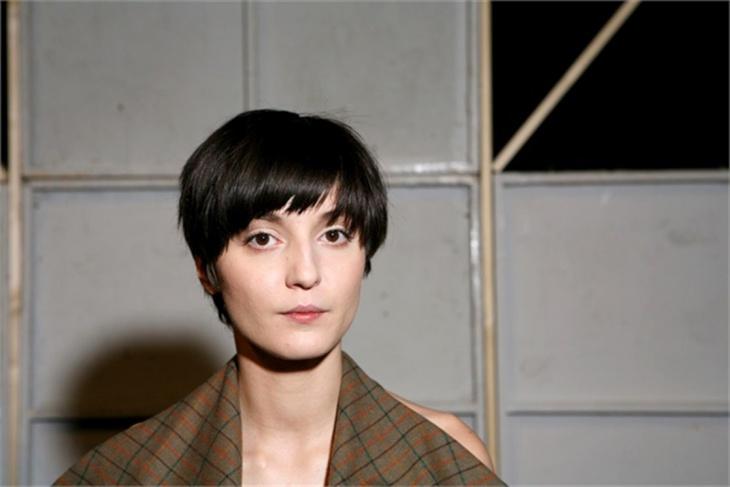 Irina Lazareanu Shiny Bowl Hairstyle