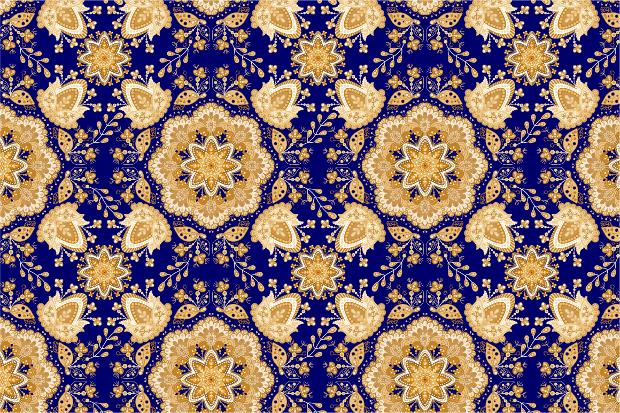 Blue Mandala Carpet Pattern