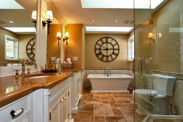 Colorful Bathroom with Wall Clock