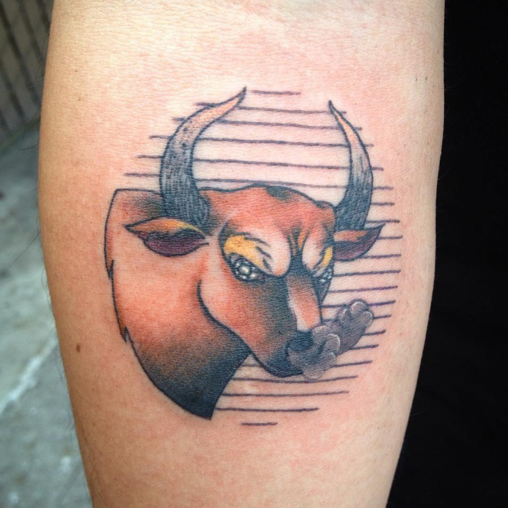 traditional bull tattoo idea