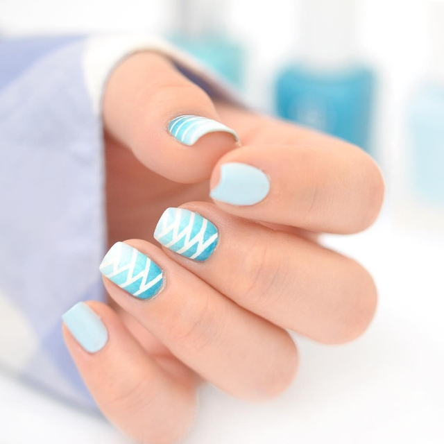 light blue braid nail art