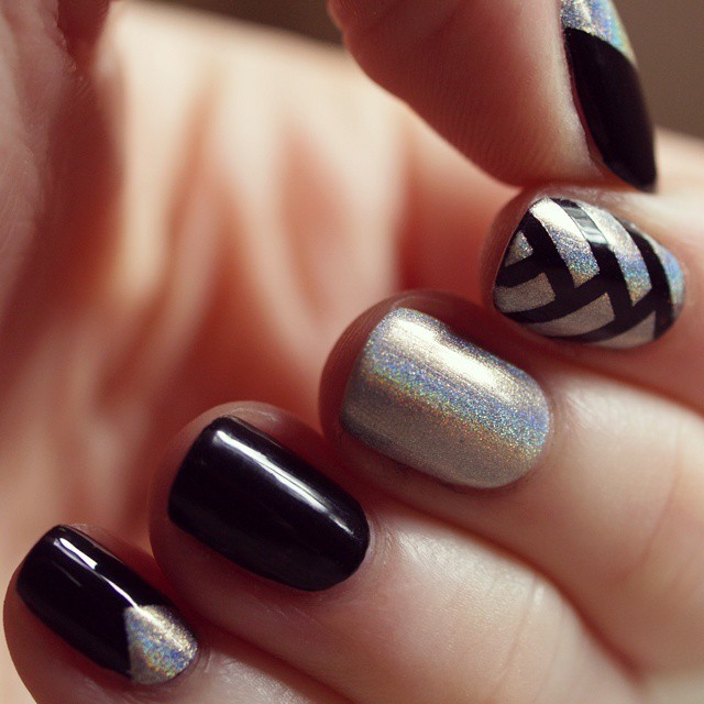 black glitter fishtail braid nail art