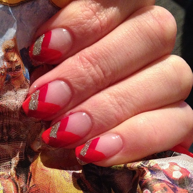 red tip braid nail art