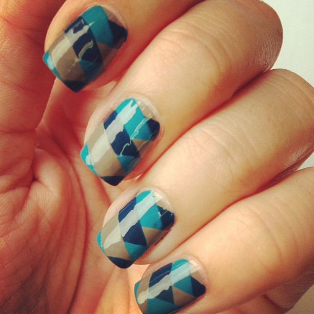 blue and gray nail art