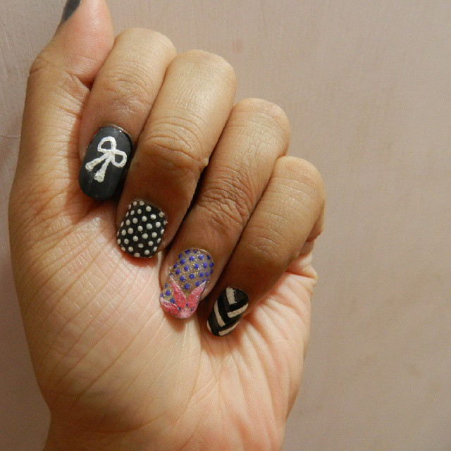 modern braid nail art