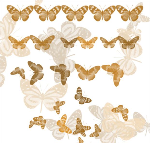 Gold Glitter Butterfly Brushes