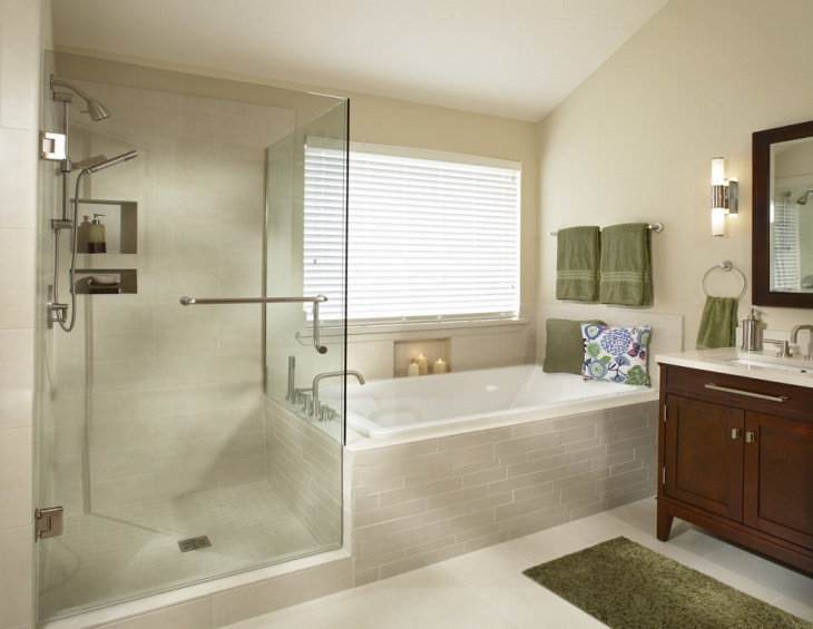 Transitional Bathroom with Glass Shower