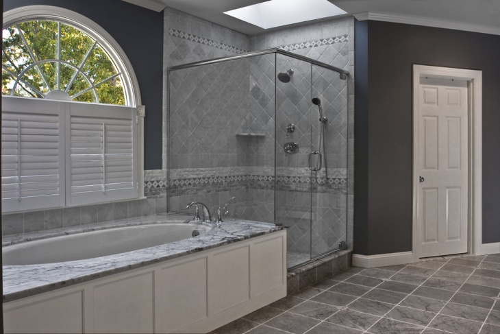 Gray Wall Tile Alcove Shower