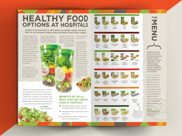 healthy food options at hospital brochure