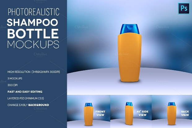 Photorealistic Shampoo Bottle Mockup PSD