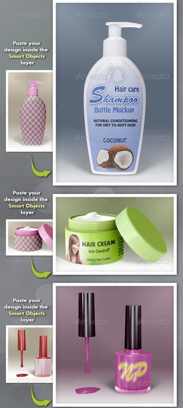Cosmetic Shampoo Products Mockups