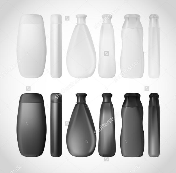 White and Black Shampoo Bottles Mock-up