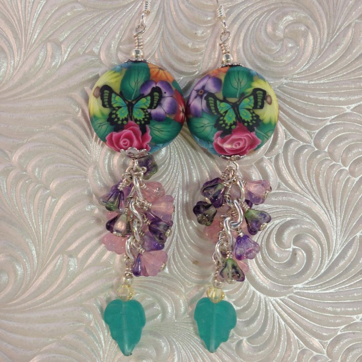 Beautiful Polymer Flower Earrings