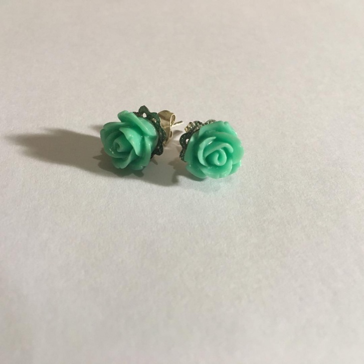Green Color Flower Studs Idea