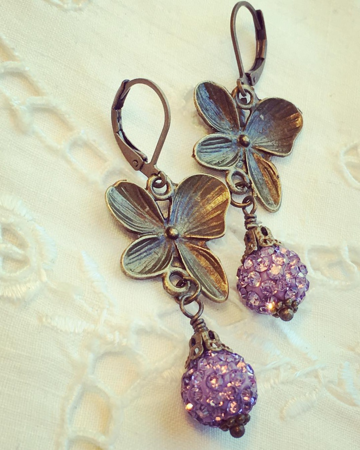 crystal pave drop flower earrings