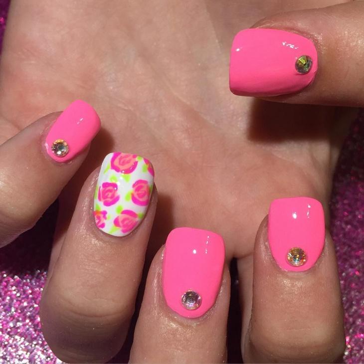 Lily Crystal Acrylic Nail Design