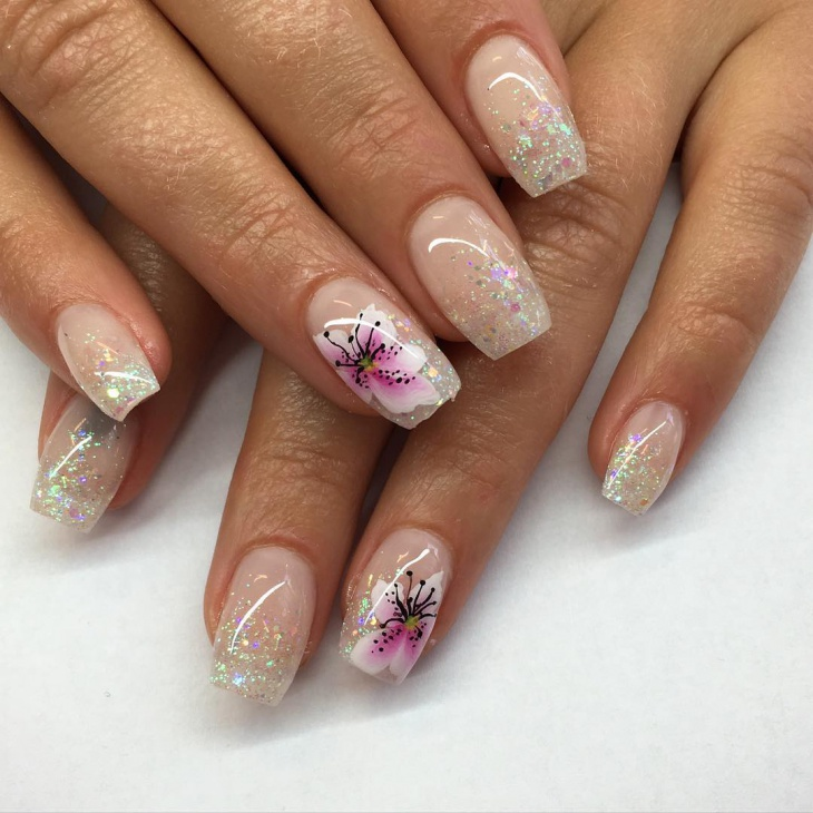 Glitter Flower Nail Design