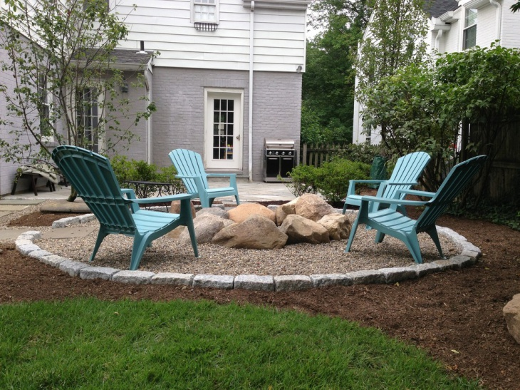 gravel brick patio design