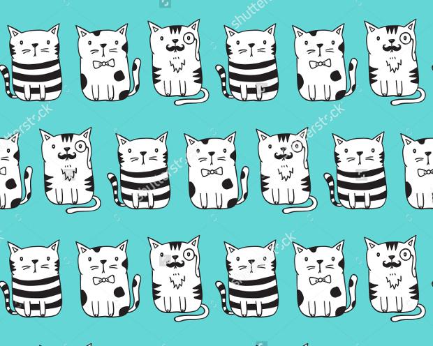 Seamless Vector Cat Pattern