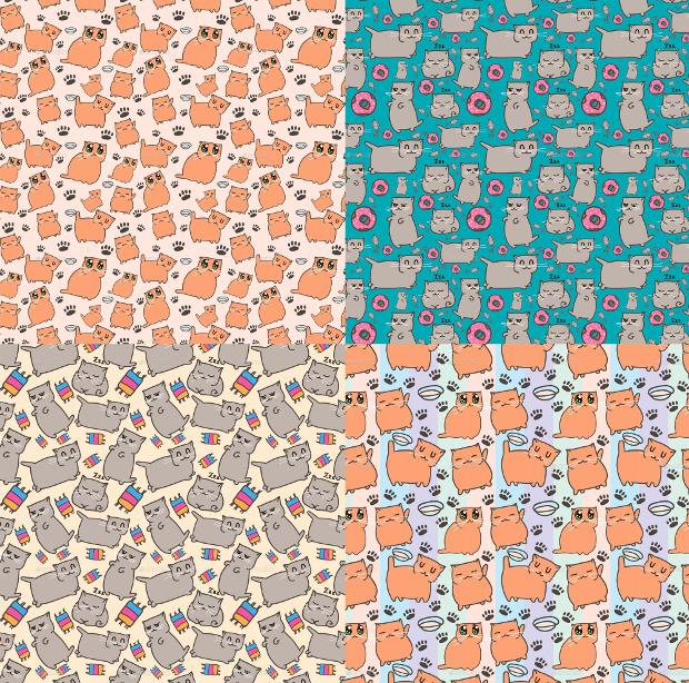 Cat Pattern Vector Set