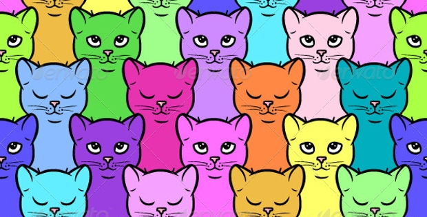 Colorful Cat PSD Pattern