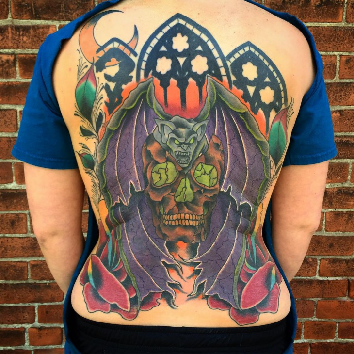 Colorful Back Tattoo for Women