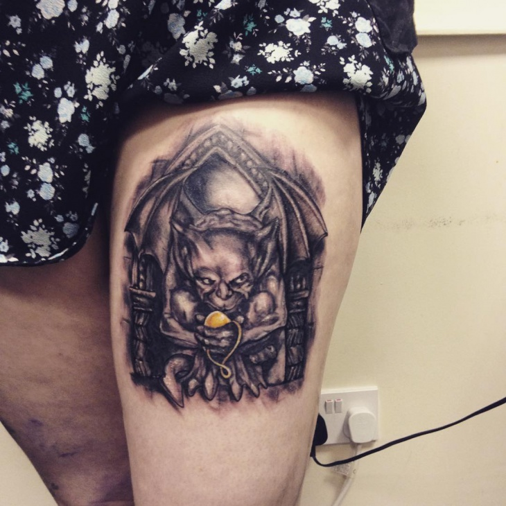 Black and Grey Tattoo on Thigh