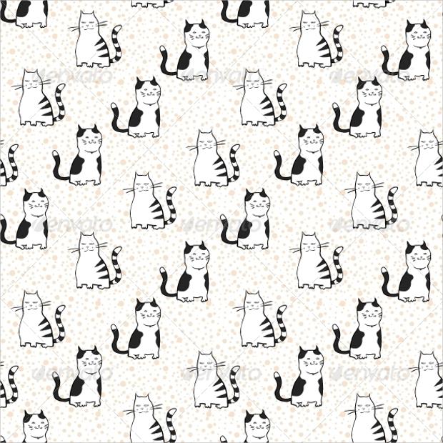 Striped cats Seamless Pattern