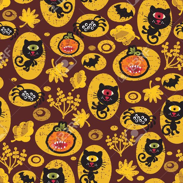 Seamless Halloween Black Cat Pattern
