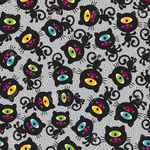 Monster Cat Seamless Pattern