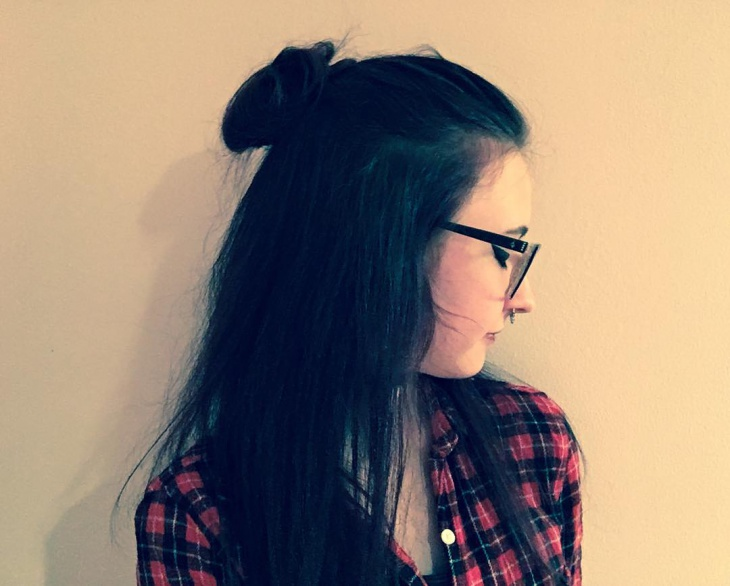 cute bun with black grunge haircut