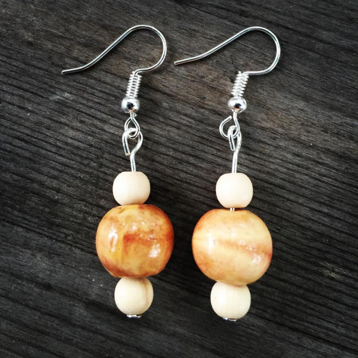 Wood Beads Dangle Earrings