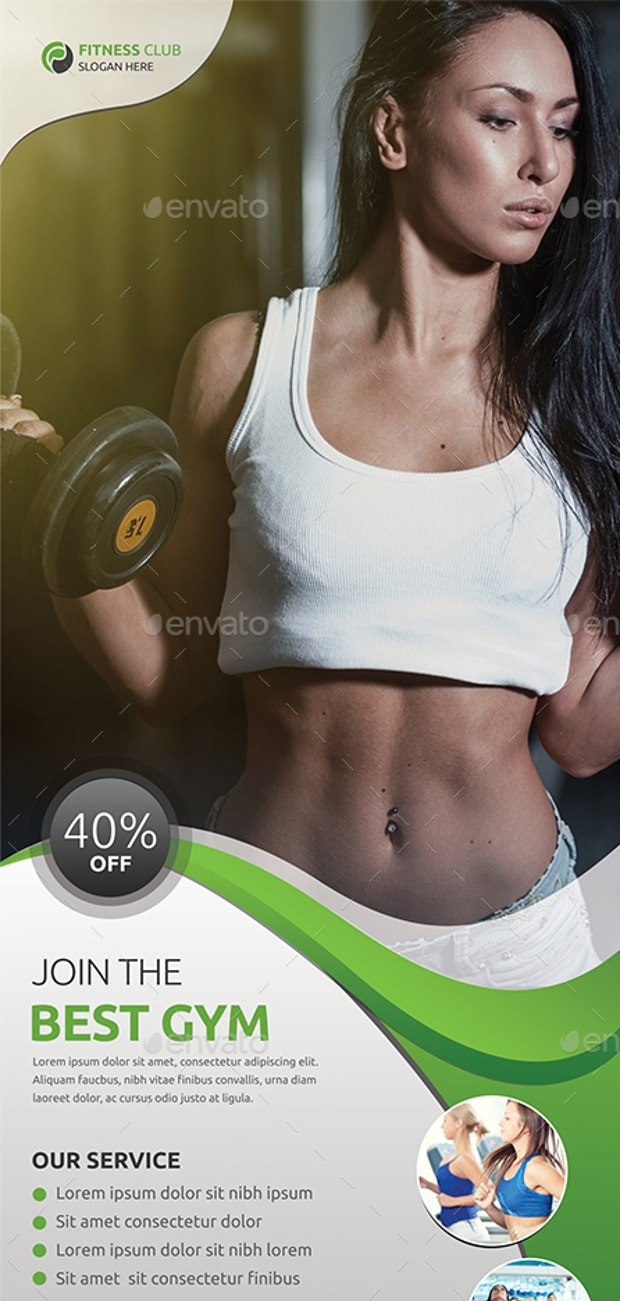 Roll up Fitness Banner Design