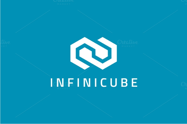 flat infinite cube logo design