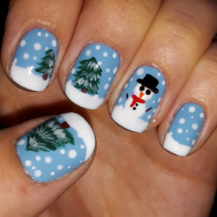 Winter Snow Nail Art