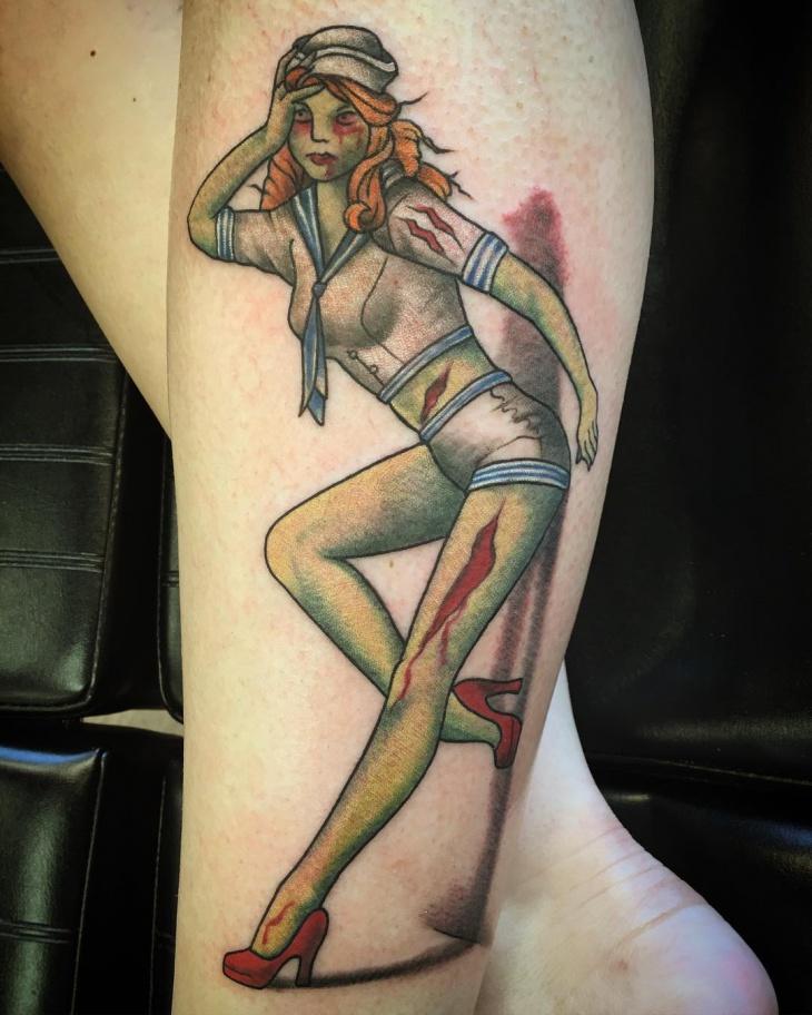 Cute Zombie Pinup Tattoo