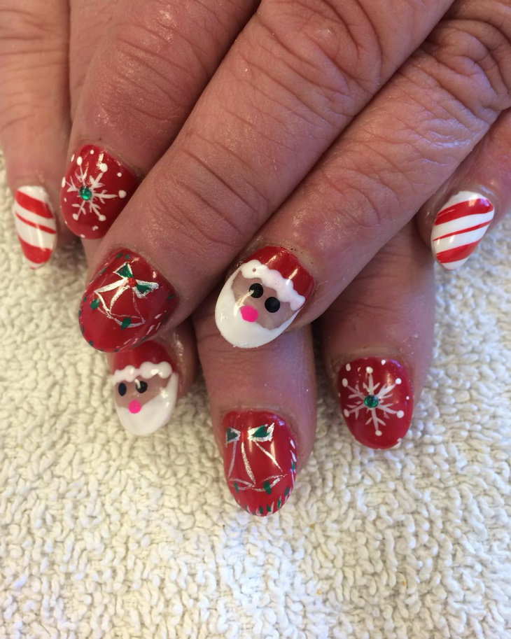 Christmas Snow Nail Art