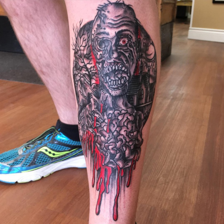 Scary Panther Tattoo on Leg